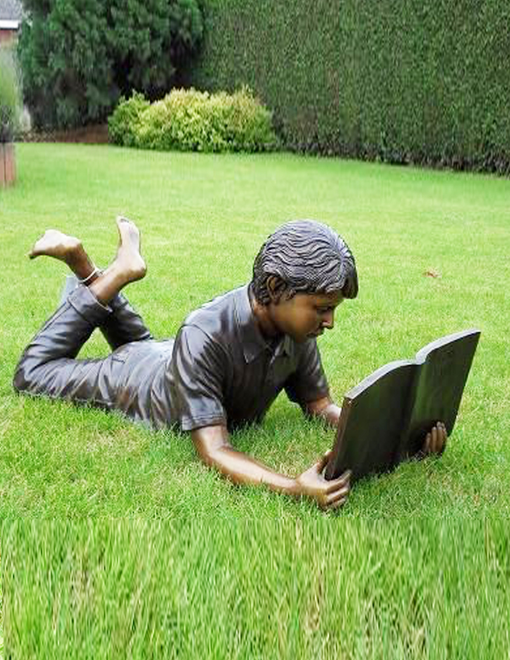 Fine Cast Bronze Sculpture Boy Reading Book Laying Down