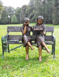 FIGI 27 Solid Bronze Study Time Bench two Girls 1 | Avant Garden