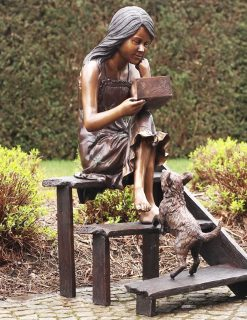FIGI 11 Solid Bronze Girl with Dog On Steps Sculpture 1 | Avant Garden