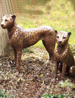 WI 15 Solid Bronze Cheetah Cubs Pair Sculpture 1 | Avant Garden