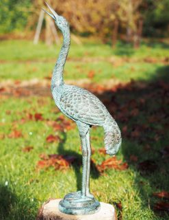 BI 31 Solid Bronze Fountain Heron 60cm Sculpture 1 | avant Garden