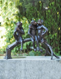 WI 59 Solid Bronze Chimpanzees 43cm Sculpture 1 | Avant Garden