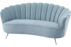 Libra Company Blue Velvet Halcyon Two Seater Shell Sofa
