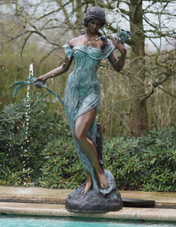 FO 50 Fine Cast Solid Bronze Fountain Sculpture Woman Flowers 1 | Avant Garden