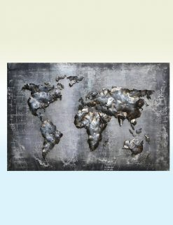 MEAR 73 3D Metal Wall Art Metallic World Map 1 | Avant Garden