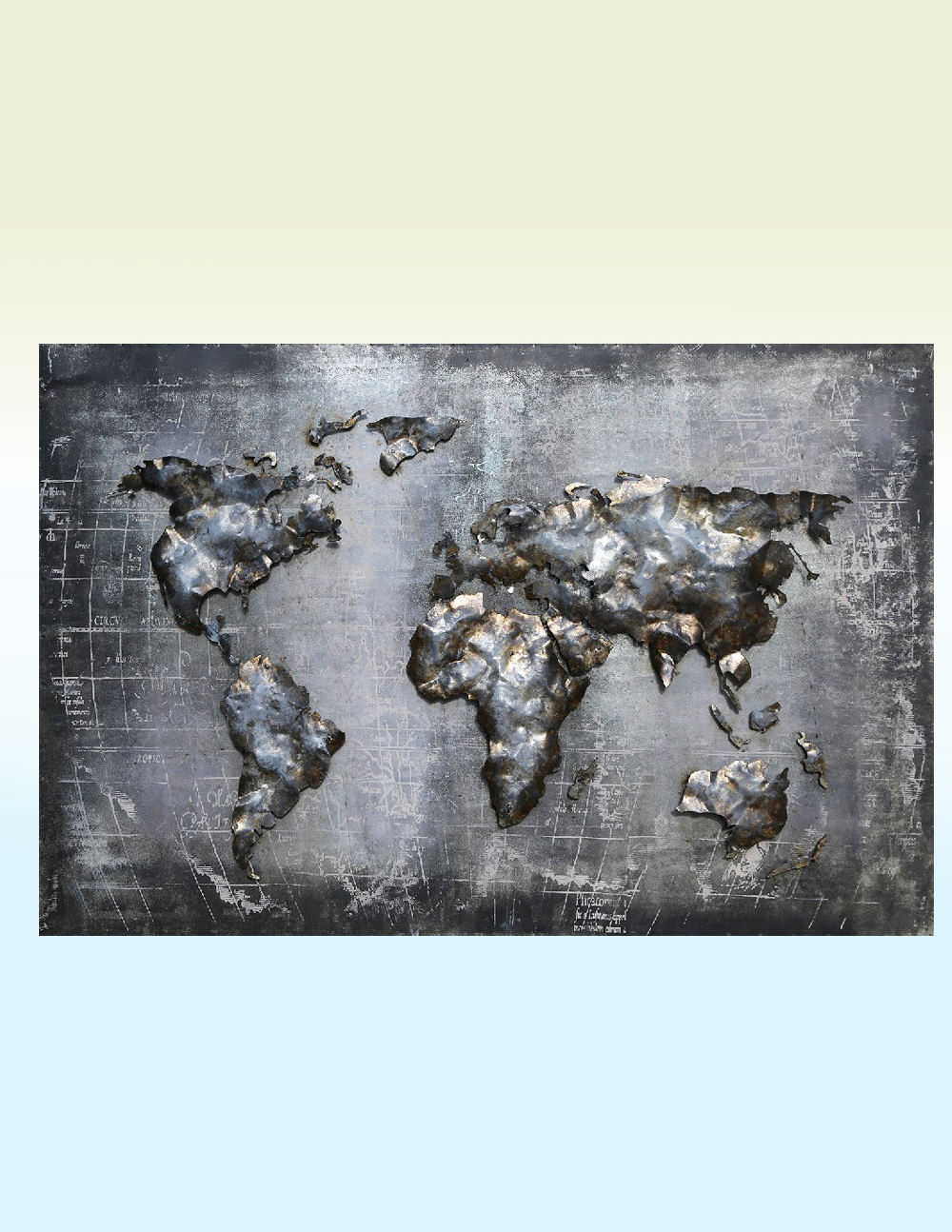3d Metal Wall Art Metallic World Map 3d Welded Sculpture Avant