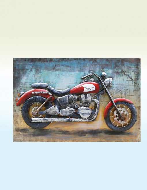 MEAR 71 3D Metal Wall Art Bike Vintage Red 1 | Avant Garden