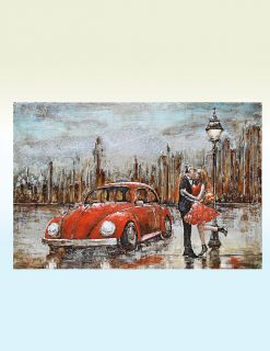 MEAR 84 3D Metal Wall Art Beetle Red VW Avant Garden Guernsey