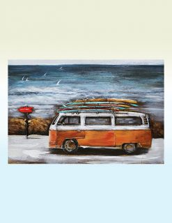 MEAR 93 3D Metal Wall Art Summer Holiday VW Surfing Avant Garden Guernsey
