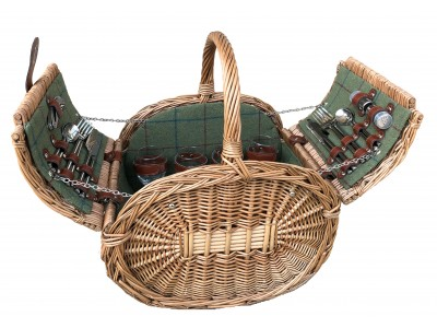 Ledbury Oval Picnic Hamper Four Person Green Tweed 1 | Avant Garden