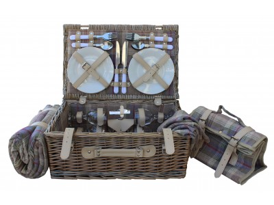 Cheltenham Picnic Hamper Lavender Tweed Four Person medium