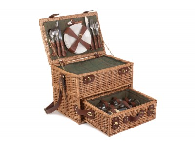 Canterbury Picnic Hamper Four Person Green Tweed Opening Drawer medium