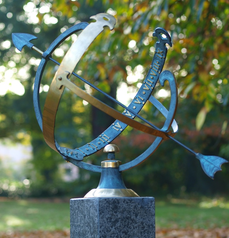 Bronze Armillary Sundial Sculpture Sphere Arrow Large | Avant garden Guernsey