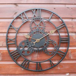 CL002 2 Workshop Style Outdoor Garden Skeleton Clock Weather Resistant 51cm | Avant Garden