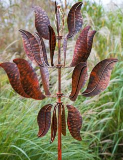 SP427 Leafy Super Spinner Burnished Gold Garden Wind Sculpture 1 | Avant Garden