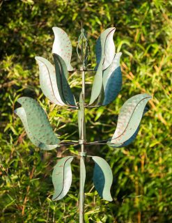 SP425 Leafy Super Spinner Verdigris Garden Wind Sculpture 1 | Avant Garden