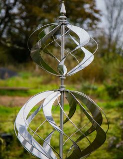 SP530 Wind Sculpture Garden Spinner Classique Swirl Brushed Steel | Avant Garden