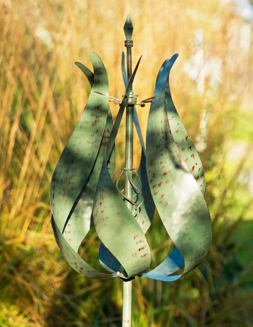 WP405 Tulip Bloom Verdigris Garden Wind Sculpture 1 | Avant Garden