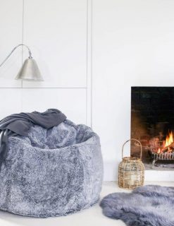 Interiors Swedish Sheepskin Beanbag Silver Grey Large | Avant Garden