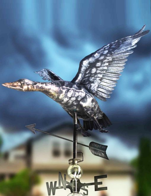 PY0609 3D Weathervane Duck Flying Stainless Steel | Avant Garden Guernsey