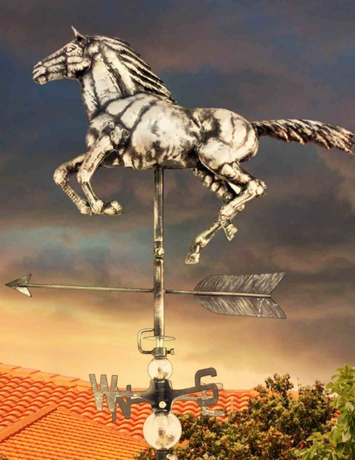 PY0610 3D Weathervane Horse Galloping Stainless Steel | Avant Garden Guernsey