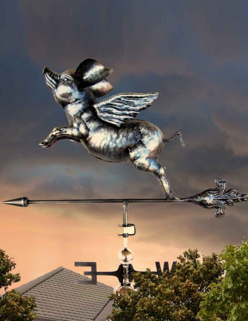PY0615 3D Weathervane Flying Pig Stainless Steel | Avant Garden Guernsey