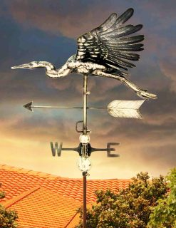 PY0628 3D Weathervane Heron Flying Stainless Steel | Avant Garden Guernsey
