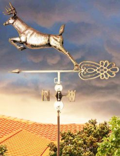 PY0630 3D Weathervane Stag Leaping Stainless Steel | Avant Garden Guernsey