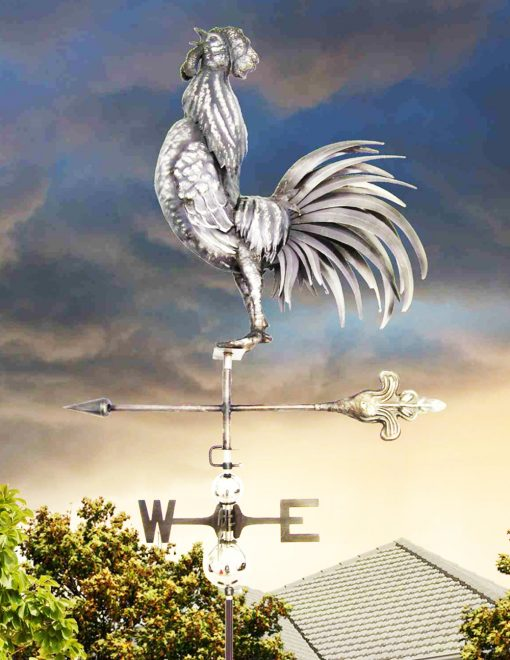 PY0810 Weathervane 3D Cock Crowing Stainless Steel | Avant Garden