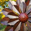 SP477 Dahlia Bloom Burnished Gold Garden Wind Sculpture | Avant Garden Guernsey