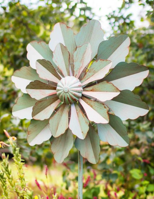 SP470 Dahlia Bloom Verdigris Garden Wind Sculpture 1 | Avant Garden