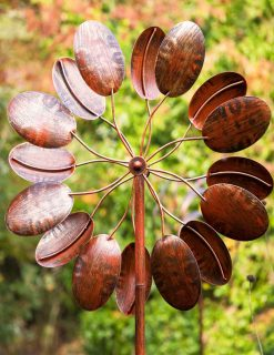 SP467 Honesty Bloom Burnished Gold Garden Wind Sculpture 1 | Avant Garden
