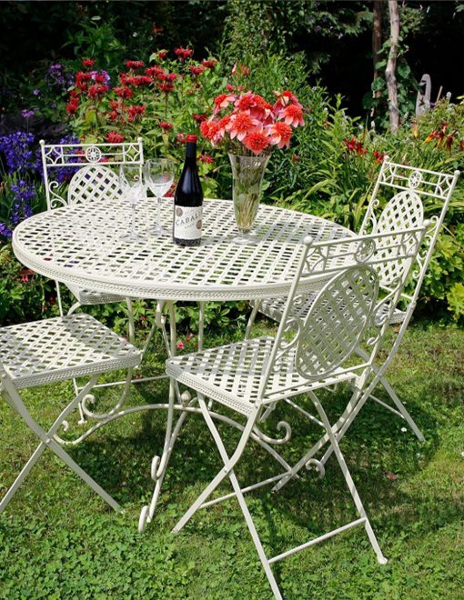 1xCR04 2xCR01 1m Dia Moselle 4 Seat Dining Suite French Lattice Style | Avant Garden Guernsey