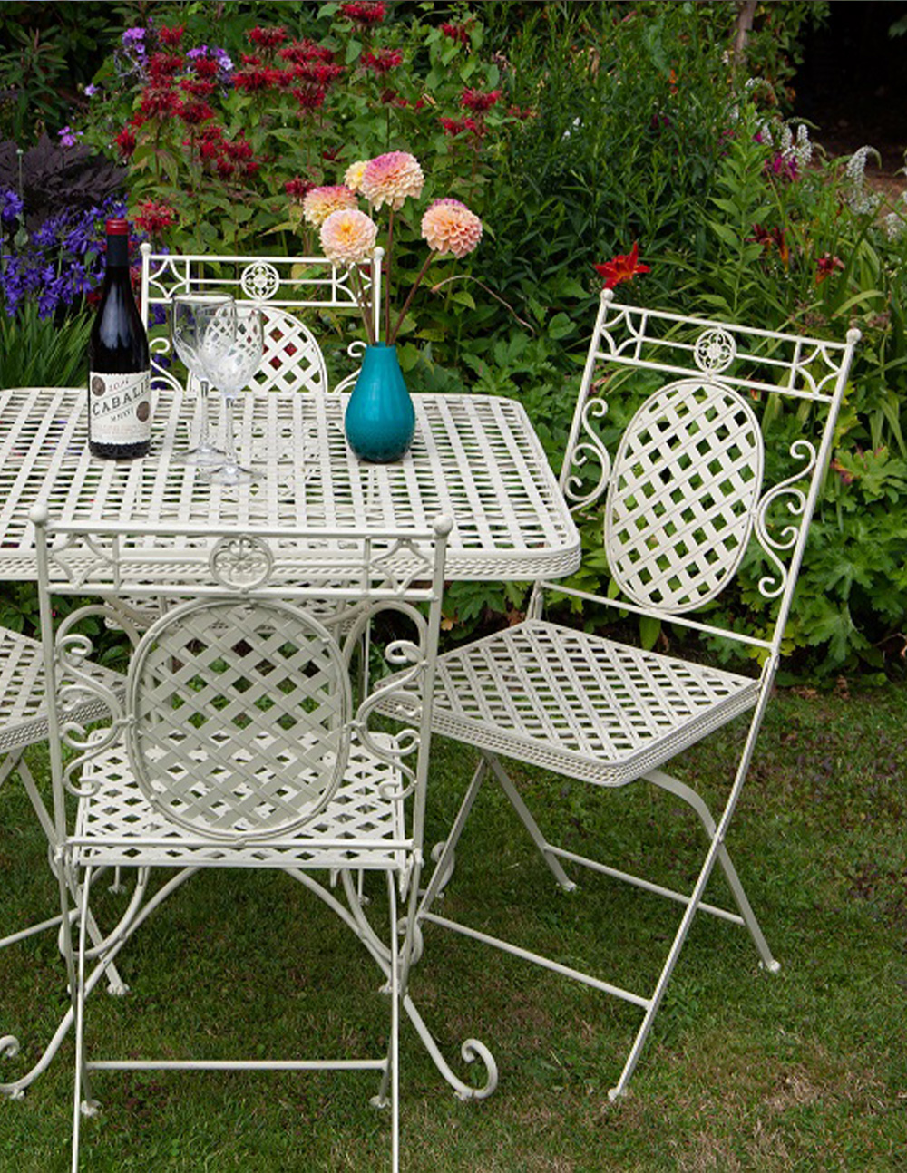CR05 2xCR01 Moselle 4 Seat 76cm Folding Dining Suite French Lattice Style | Avant Garden Guernsey