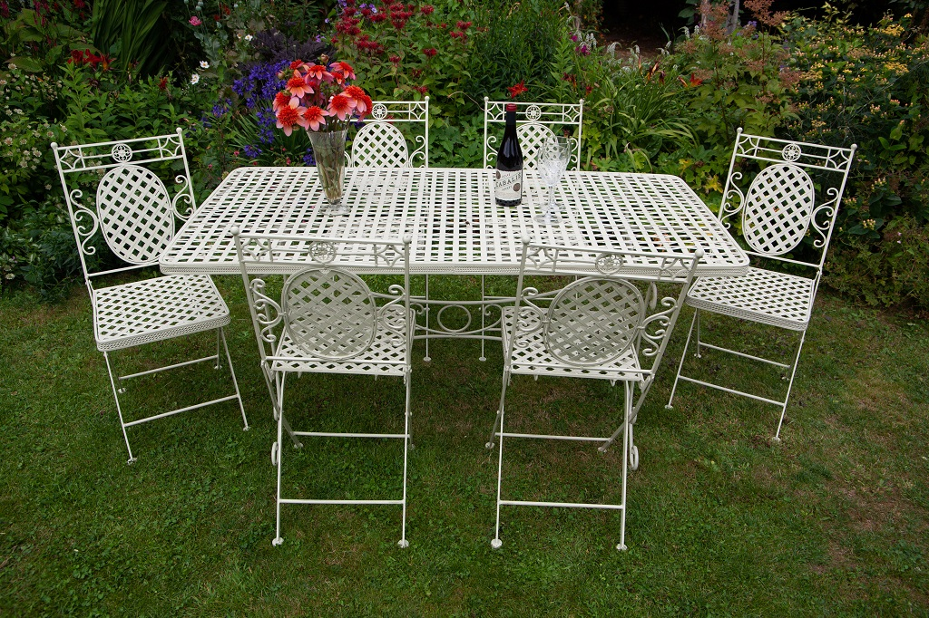 1xCR06 6xCR01 1 Moselle Oval Folding Dining Suite French Lattice Style | Avant Garden Guernsey