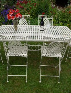 1xCR06 3xCR01 1 Moselle 6 Seat Rectangular Dining Suite French Lattice Style | Avant Garden Guernsey