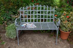 FE15 Loire Simulated Galvanised Finish 2 Seater Garden Bench | Avant Garden Guernsey