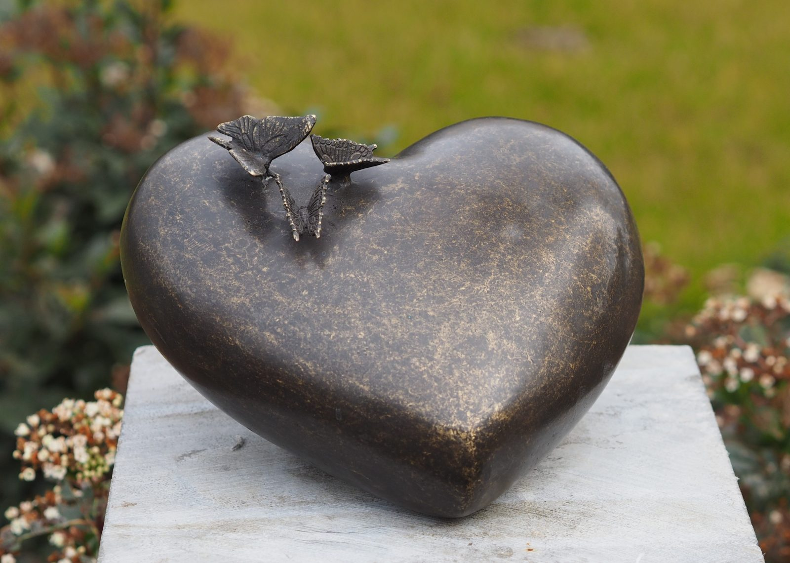 MESU 34 Fine Cast Bronze Sculpture Memorial Urn Heart with Butterflies | Avant Garden