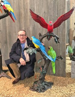 BI 72 Solid Bronze Macaw Parrots on tree sculpture 1 | Avant Garden