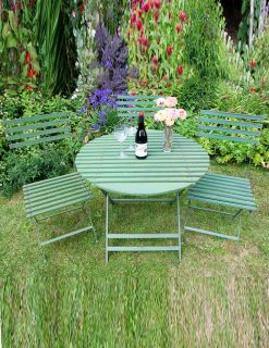 WG04 & WG01 Charente 90cm Dining Set Folding Green Wood Effect Metal | Avant Garden Guernsey