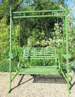 WG18 Charente Collection Swing Seat 2 Person Green Wood Effect Metal | Avant Garden Guernsey