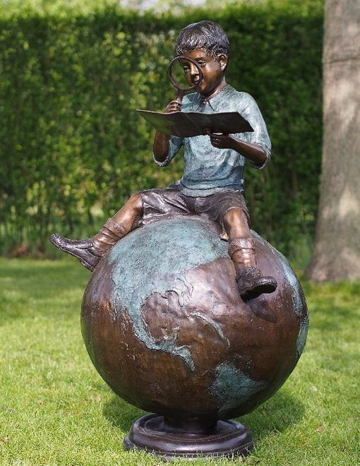 FIBO 44 Solid Bronze Going Global Boy Sculpture 1 | Avant Garden
