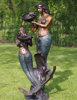 FO 78 Solid Bronze Fountain Mermaids Sculpture Water Feature 1 | Avant Garden