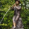 FO 74 Solid Bronze Boy Fountain Pipe Player Sculpture 1 | Avant Garden