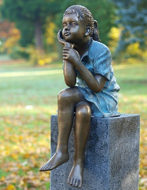 FIGI 78 Solid Bronze Young Girl Sitting Sculpture 1 | Avant Garden
