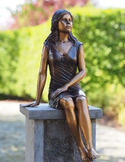 FIGI 79 Solid Bronze Young Lady Sitting Sculpture 1 | Avant Garden