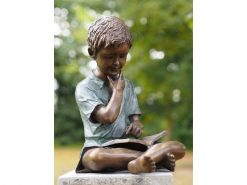 BO 45 Solid Bronze Young Boy Reading Sculpture 1 | Avant Garden