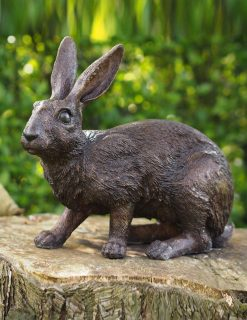 WI 69 Solid Bronze Rabbit Bright Eyes Sculpture 1 | Avant Garden