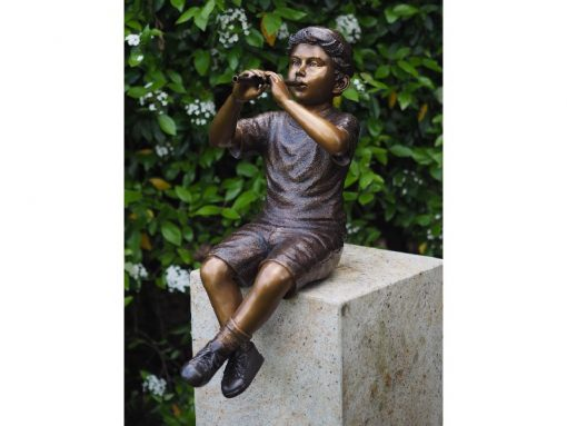 FIBO 43 Solid Bronze Boy Fountain Playing Flute 1 | Avant Garden