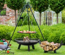 CookKing Grill on Tripod 180cm with reel Fire Bowl Porto & Mila Log Rack 8 | Avant Garden